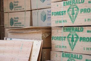 Stacks of engineered wood at GSL San Rafael