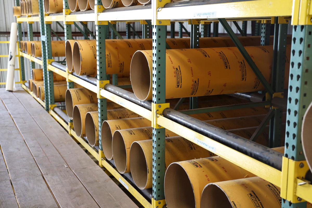 Concrete forming tubes at GSL San Rafael lumberyard