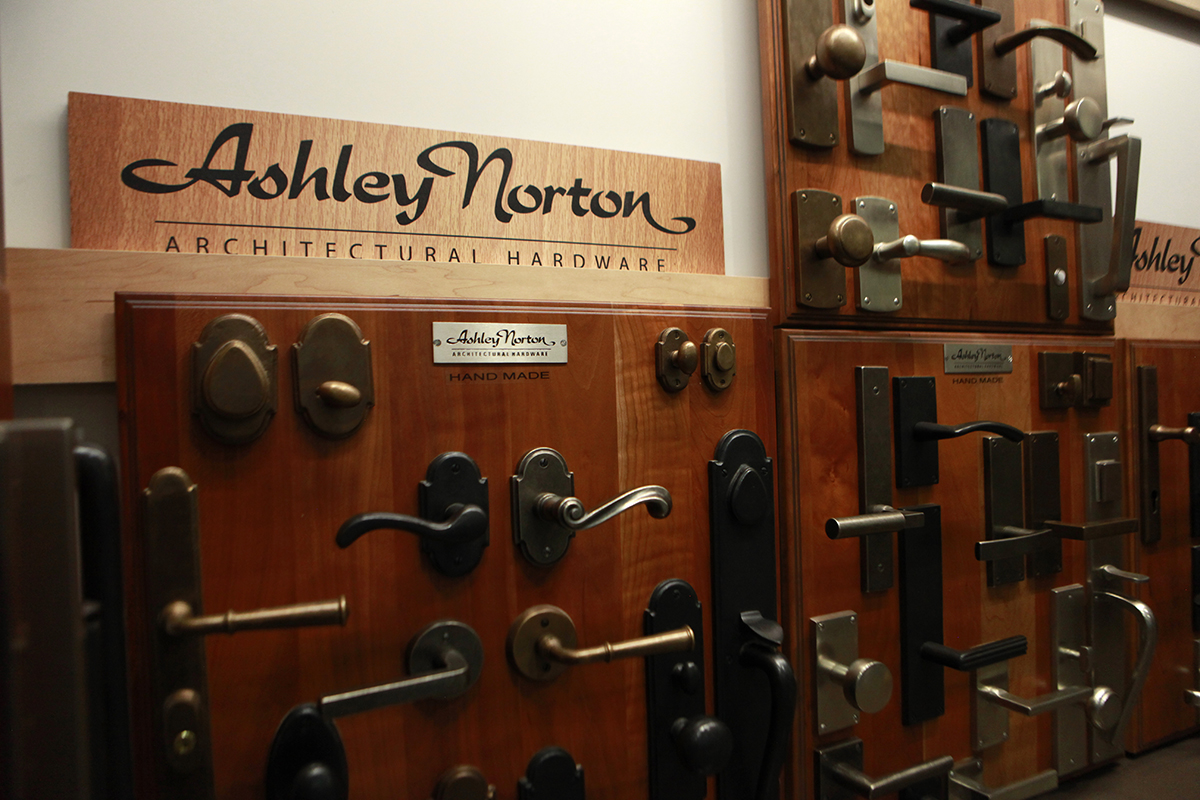 Ashley Norton door hardware display at GSL showroom