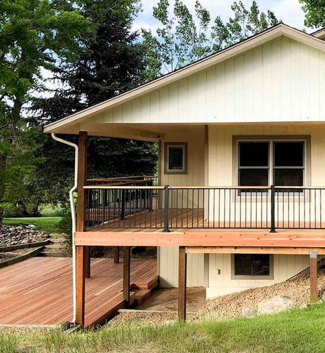 Allweather-Wood-redwood deck around house