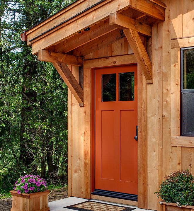 Humboldt Redwood cabin with orange door