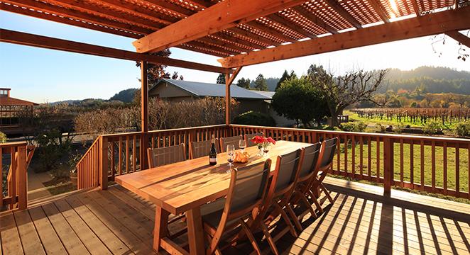 Humboldt Redwood deck overlooking vineyard