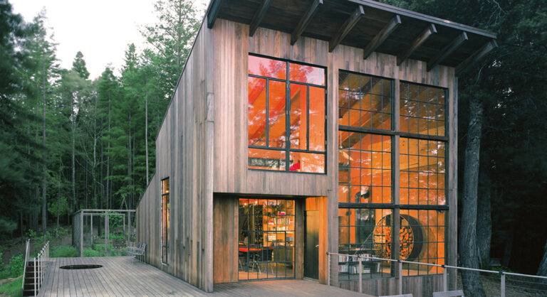 Humboldt Redwood modern-cabin with large windows