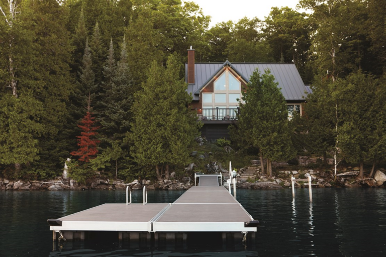 TimberTech rustic charm deck design on lake