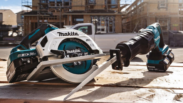 makita cordless saws displayed in front of residential construction