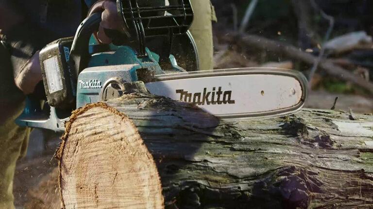 makita chainsaw cutting wood