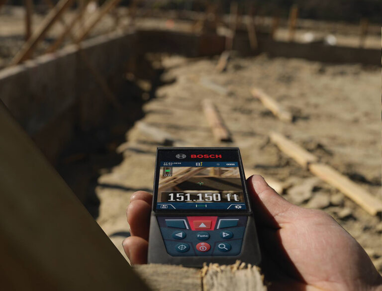 Closeup of Bosch laser at construction site