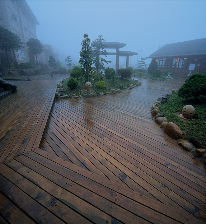 Allweather Wood Asian-style multi-layer deck in the fog