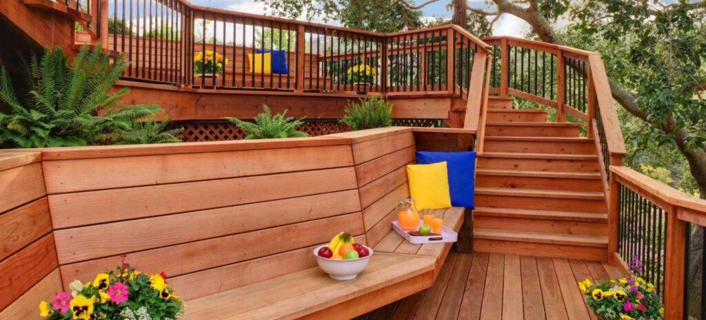 California Cascade multilevel backyard deck