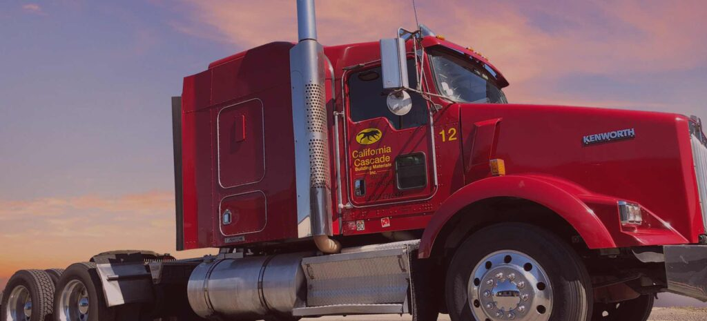 California Cascade red delivery truck